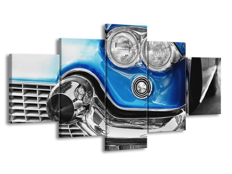 Canvas Schilderij Oldtimer, Auto | Grijs, Blauw, Zilver | 150x80cm 5Luik