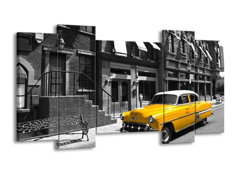Glasschilderij Oldtimer, Auto | Zwart, Wit, Geel | 120x65cm 5Luik