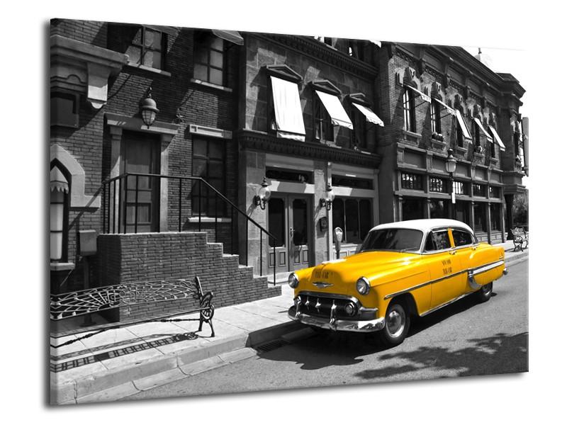 Glasschilderij Oldtimer, Auto | Zwart, Wit, Geel | 70x50cm 1Luik