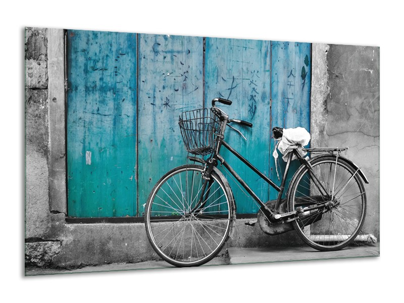 Canvas Schilderij Fiets | Turquoise, Grijs | 120x70cm 1Luik