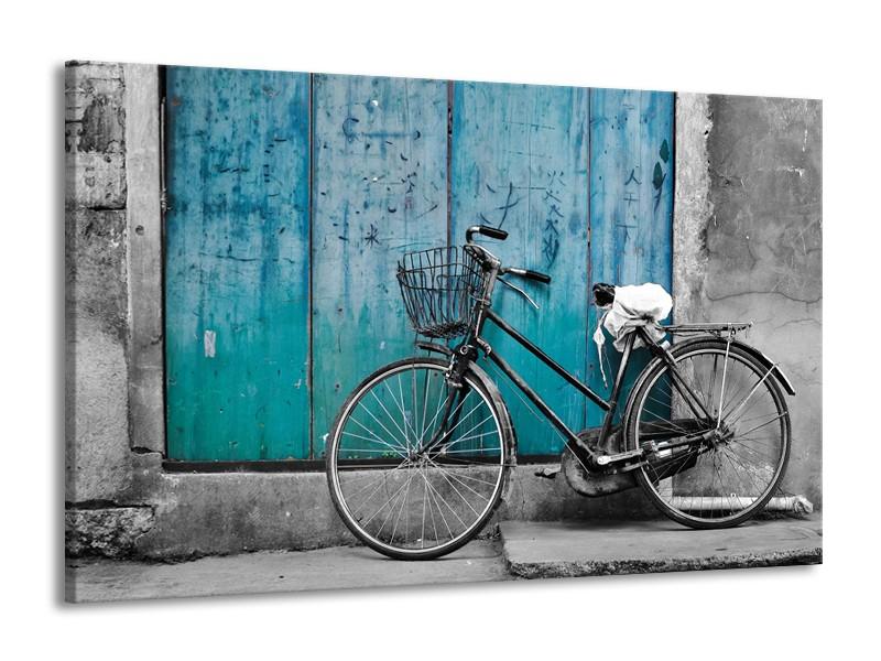 Canvas Schilderij Fiets | Turquoise, Grijs | 140x90cm 1Luik