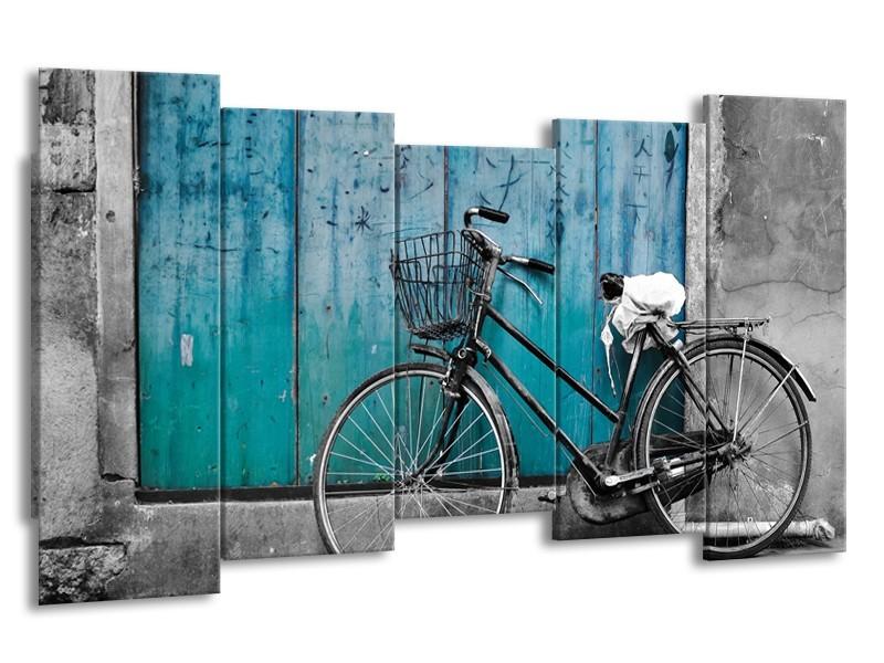 Canvas Schilderij Fiets | Turquoise, Grijs | 150x80cm 5Luik