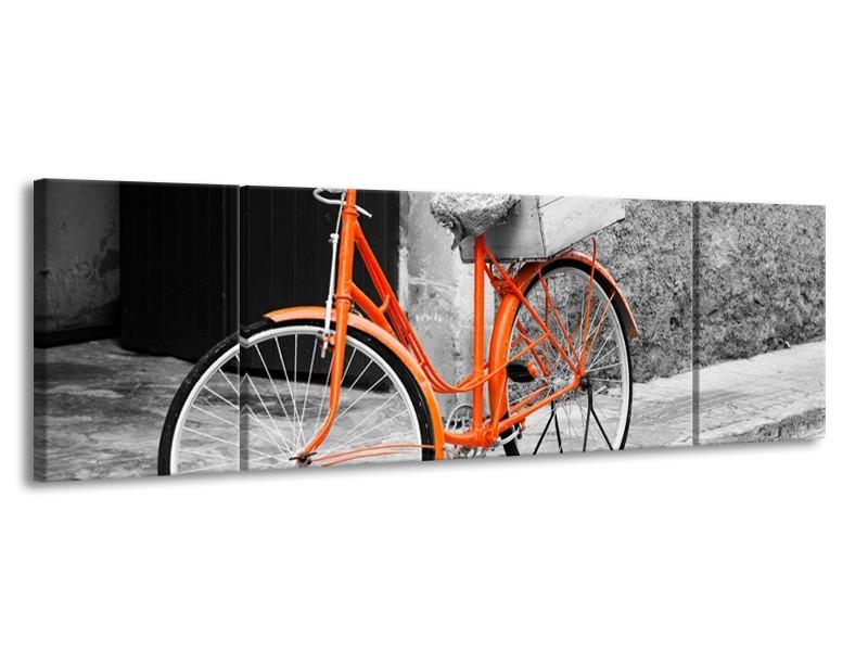 Canvas Schilderij Fiets | Grijs, Oranje, Zwart | 170x50cm 3Luik
