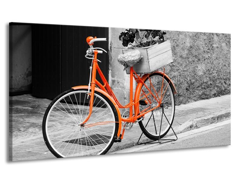 Canvas Schilderij Fiets | Grijs, Oranje, Zwart | 170x90cm 1Luik