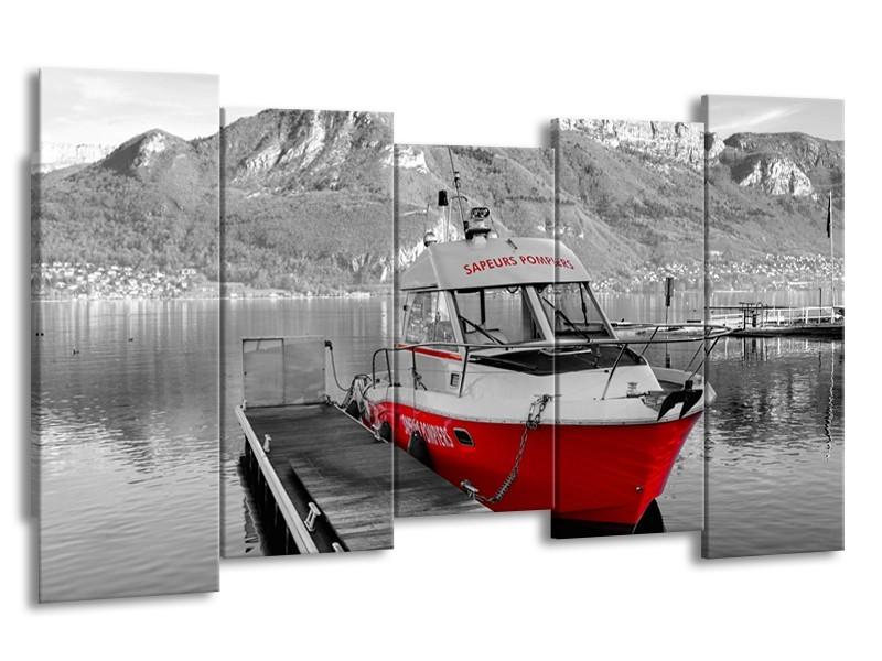 Canvas Schilderij Boot, Bergen | Zwart, Wit, Rood | 150x80cm 5Luik