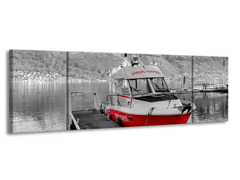 Canvas Schilderij Boot, Bergen | Zwart, Wit, Rood | 170x50cm 3Luik