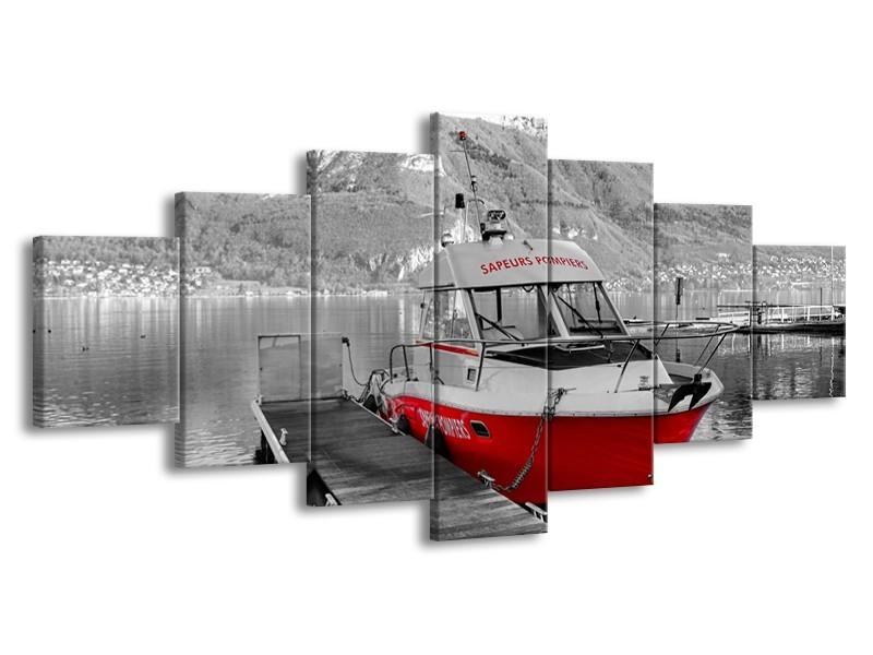 Glasschilderij Boot, Bergen | Zwart, Wit, Rood | 210x100cm 7Luik