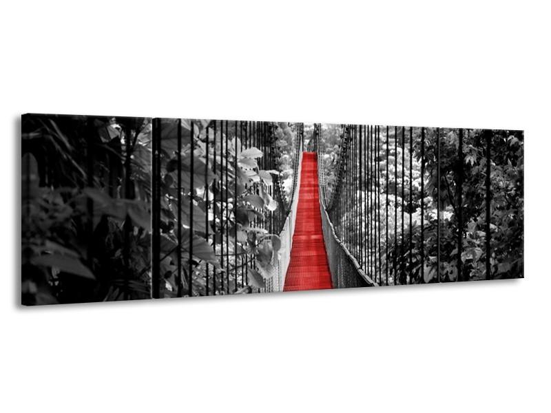 Canvas Schilderij Brug, Natuur | Zwart, Wit, Rood | 170x50cm 3Luik