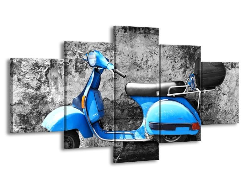 Canvas Schilderij Scooter, Motor | Grijs, Blauw | 150x80cm 5Luik