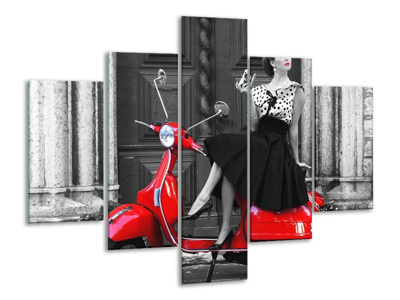 Canvas Schilderij Scooter, Vrouw | Zwart, Wit, Rood | 100x70cm 5Luik