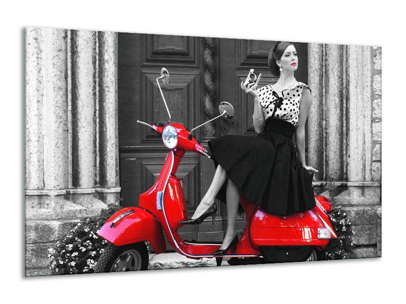 Canvas Schilderij Scooter, Vrouw | Zwart, Wit, Rood | 120x70cm 1Luik