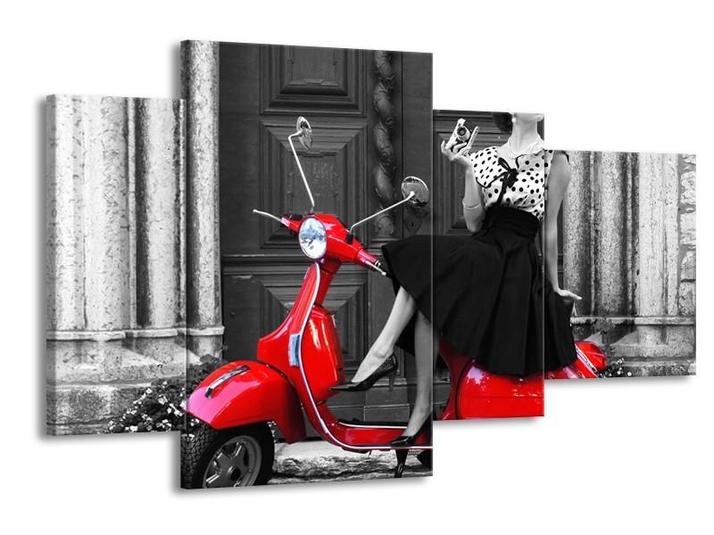 Canvas Schilderij Scooter, Vrouw | Zwart, Wit, Rood | 120x75cm 4Luik