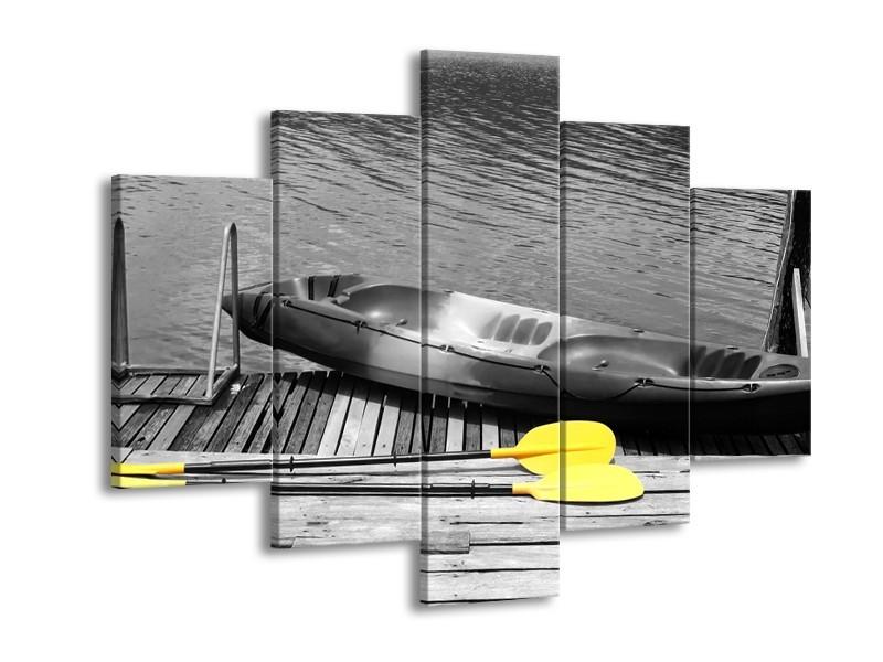 Canvas Schilderij Boot, Water | Zwart, Wit, Geel | 150x105cm 5Luik