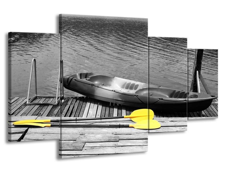 Canvas Schilderij Boot, Water | Zwart, Wit, Geel | 160x90cm 4Luik