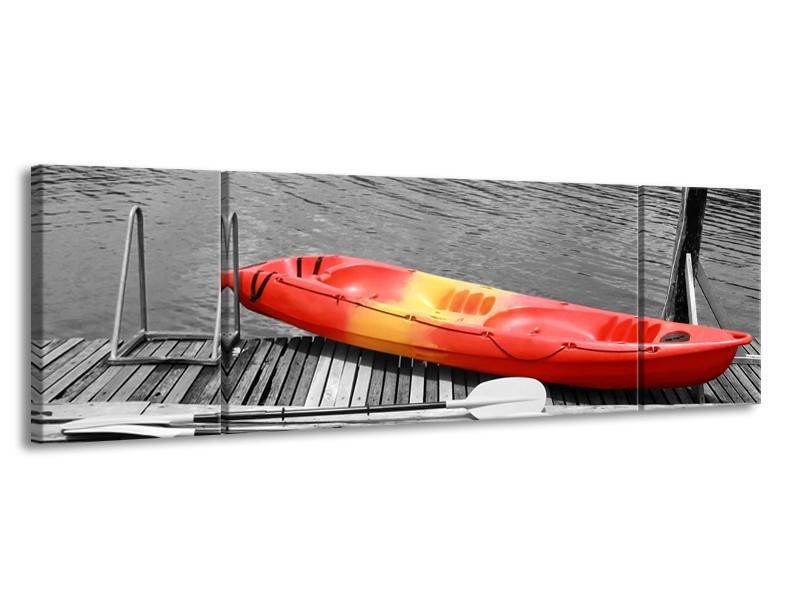Canvas Schilderij Boot, Water | Zwart, Wit, Rood | 170x50cm 3Luik