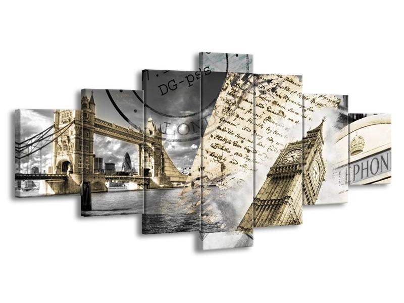 Glasschilderij Engeland, London | Grijs, Crème, Bruin | 210x100cm 7Luik