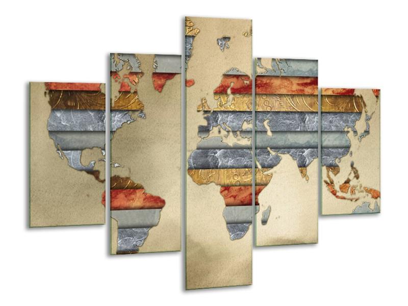 Canvas Schilderij Wereldkaart   Grijs, Crème, Bruin   100x70cm 5Luik