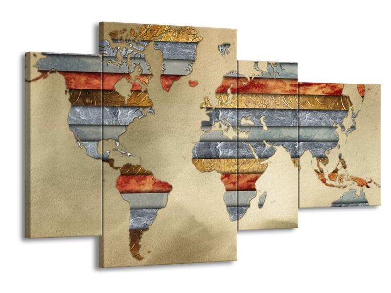 Canvas Schilderij Wereldkaart   Grijs, Crème, Bruin   120x75cm 4Luik