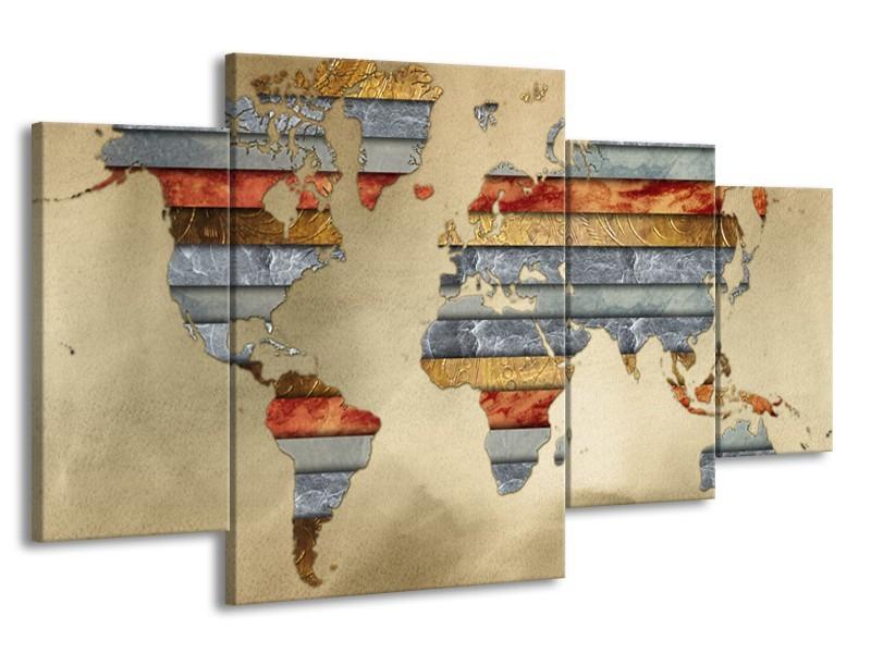 Glasschilderij Wereldkaart | Grijs, Crème, Bruin | 160x90cm 4Luik