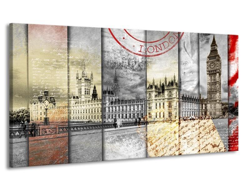 Canvas Schilderij Engeland, London | Grijs, Crème, Rood | 170x90cm 1Luik