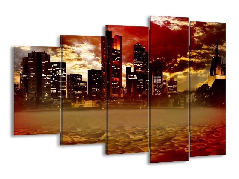 Glasschilderij New York, Steden | Bruin, Rood, Oranje | 150x100cm 5Luik