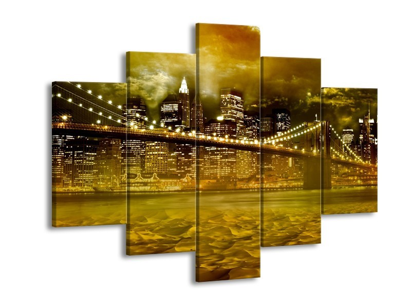 Glasschilderij New York, Brug | Oranje, Bruin, Groen | 150x105cm 5Luik