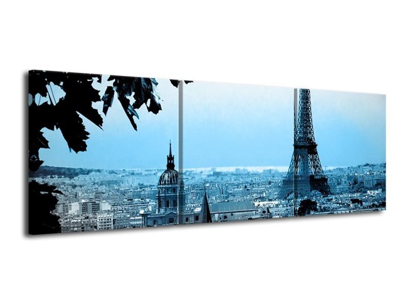 Canvas Schilderij Parijs, Eiffeltoren | Grijs, Blauw | 120x40cm 3Luik