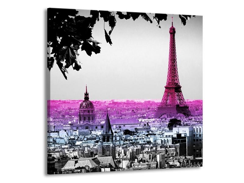 Glasschilderij Parijs, Eiffeltoren | Paars, Roze, Grijs | 70x70cm 1Luik