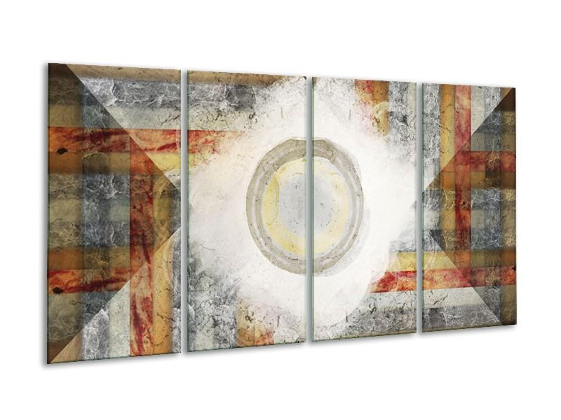 Glasschilderij Abstract | Grijs, Crème , Bruin | 160x80cm 4Luik