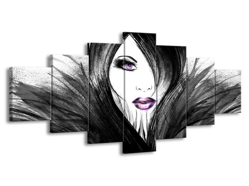 Glasschilderij Vrouw, Gezicht   Zwart, Wit, Paars   210x100cm 7Luik