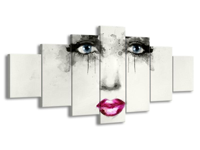 Glasschilderij Vrouw, Gezicht   Zwart, Roze, Crème   210x100cm 7Luik