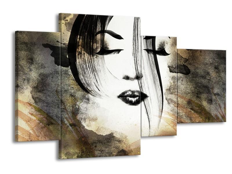 Glasschilderij Vrouw, Gezicht   Zwart, Wit, Bruin   120x75cm 4Luik
