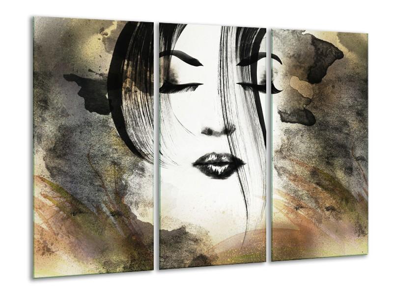 Glasschilderij Vrouw, Gezicht   Zwart, Wit, Bruin   120x80cm 3Luik