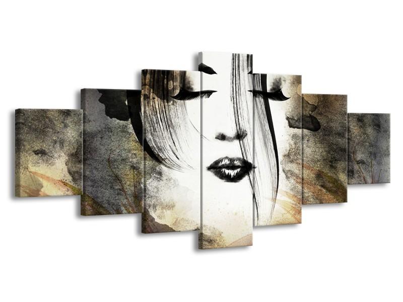 Glasschilderij Vrouw, Gezicht   Zwart, Wit, Bruin   210x100cm 7Luik