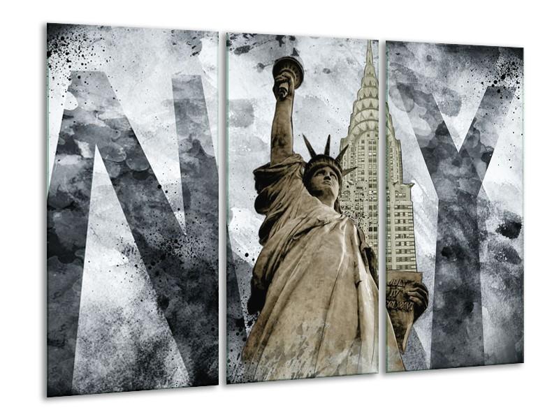Canvas Schilderij Vrijheidsbeeld, New York | Grijs, Crème | 120x80cm 3Luik