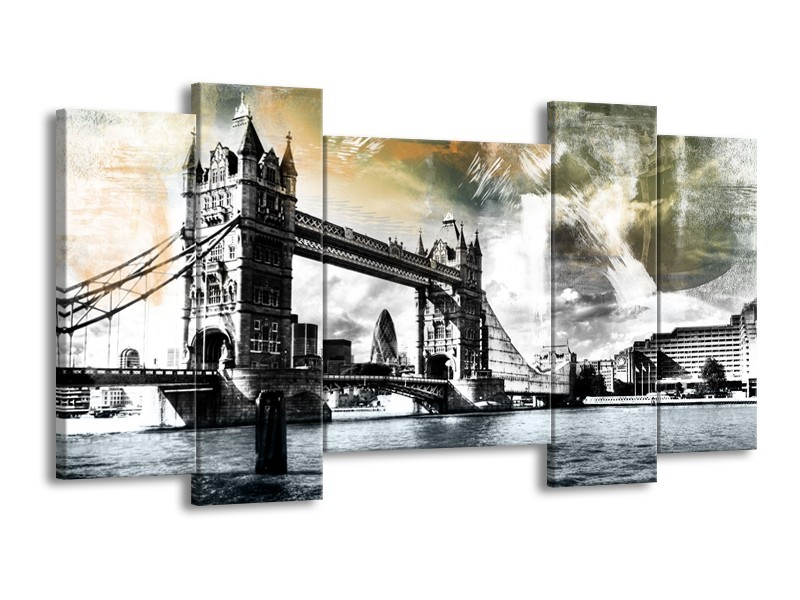 Canvas Schilderij Engeland, London | Zwart, Grijs, Groen | 120x65cm 5Luik