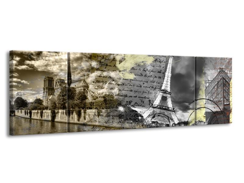 Canvas Schilderij Frankrijk, Parijs | Grijs, Geel, Bruin | 170x50cm 3Luik