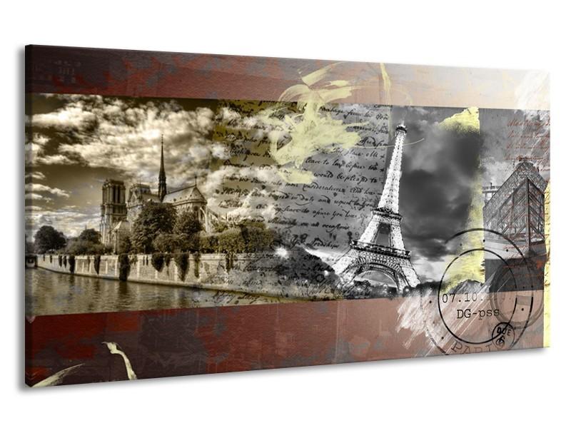 Canvas Schilderij Frankrijk, Parijs | Grijs, Geel, Bruin | 190x100cm 1Luik