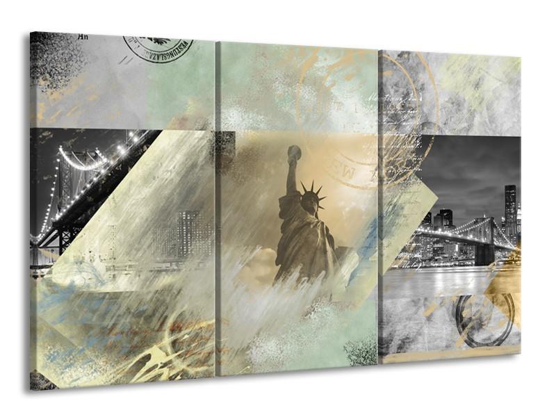 Glasschilderij Vrijheidsbeeld, New York | Grijs, Crème , Groen | 165x100cm 3Luik