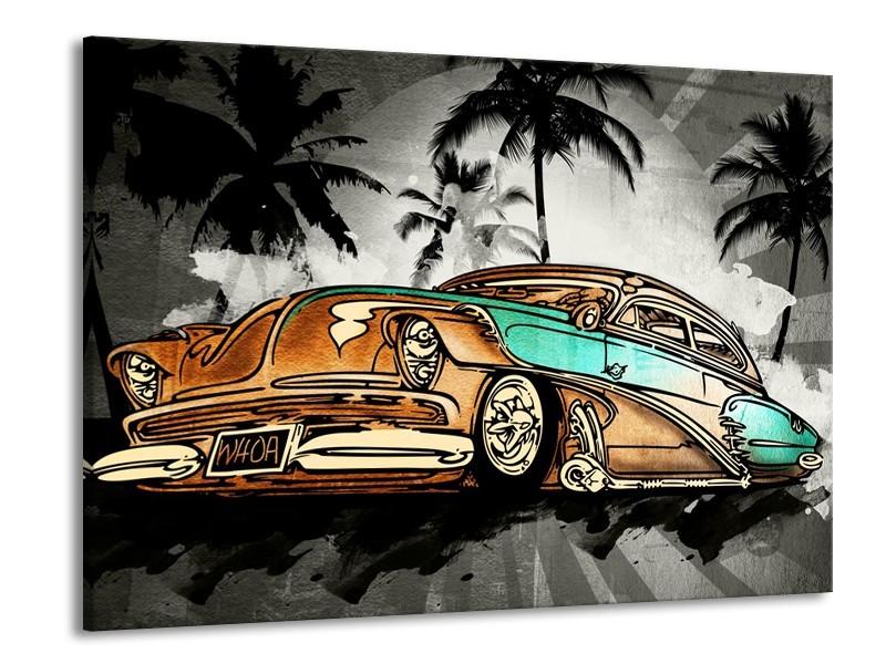Canvas Schilderij Oldtimer, Auto | Zwart, Wit, Oranje | 100x70cm 1Luik