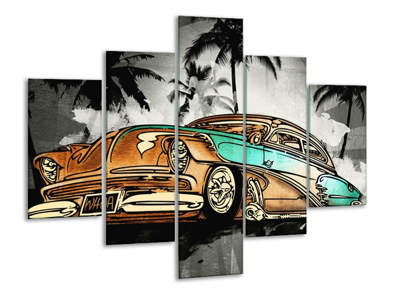 Canvas Schilderij Oldtimer, Auto | Zwart, Wit, Oranje | 100x70cm 5Luik