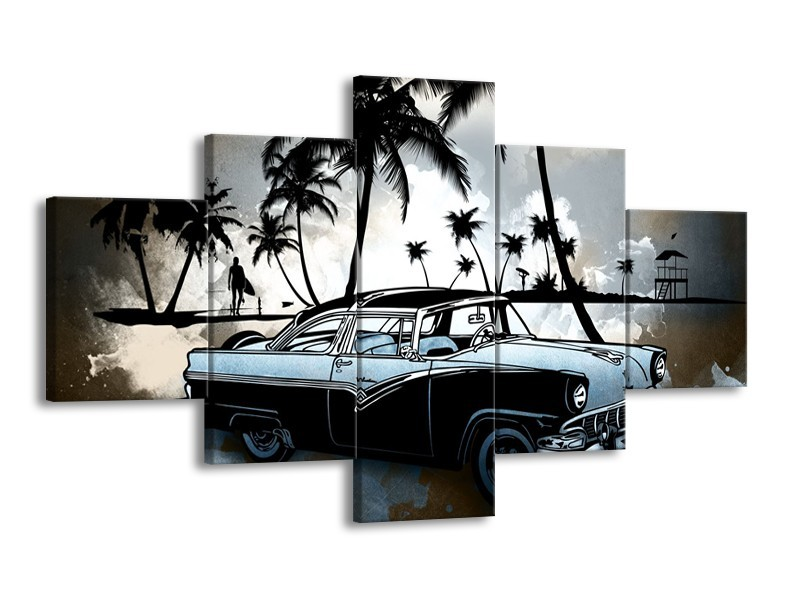 Glasschilderij Oldtimer, Auto | Zwart, Wit, Blauw | 125x70cm 5Luik