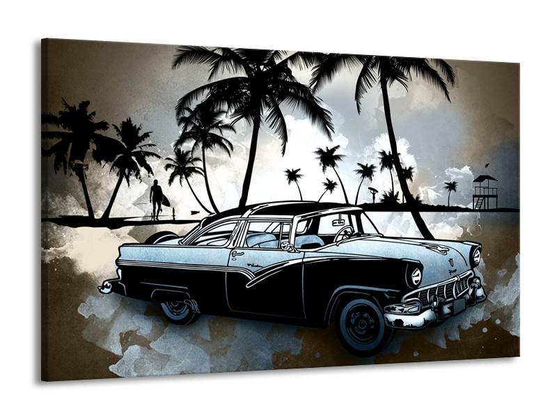 Canvas Schilderij Oldtimer, Auto | Zwart, Wit, Blauw | 140x90cm 1Luik