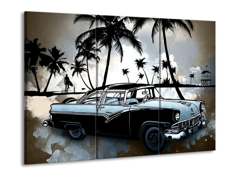 Canvas Schilderij Oldtimer, Auto | Zwart, Wit, Blauw | 60x90cm 3Luik