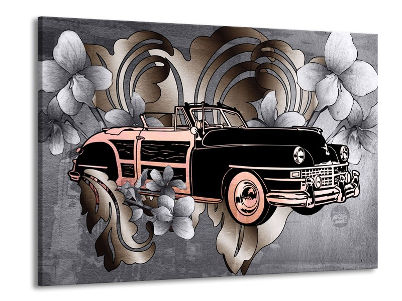 Canvas Schilderij Oldtimer, Auto | Grijs, Zwart | 100x70cm 1Luik