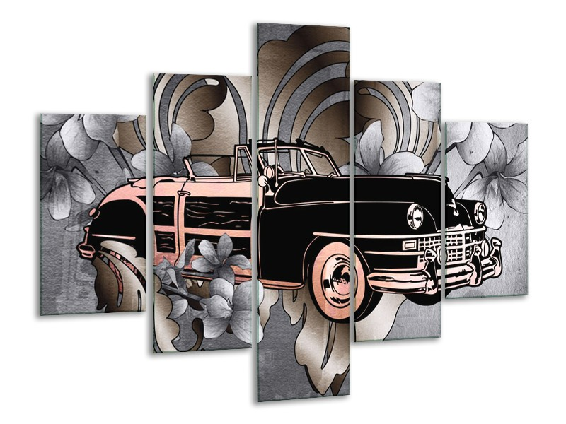 Canvas Schilderij Oldtimer, Auto | Grijs, Zwart | 100x70cm 5Luik