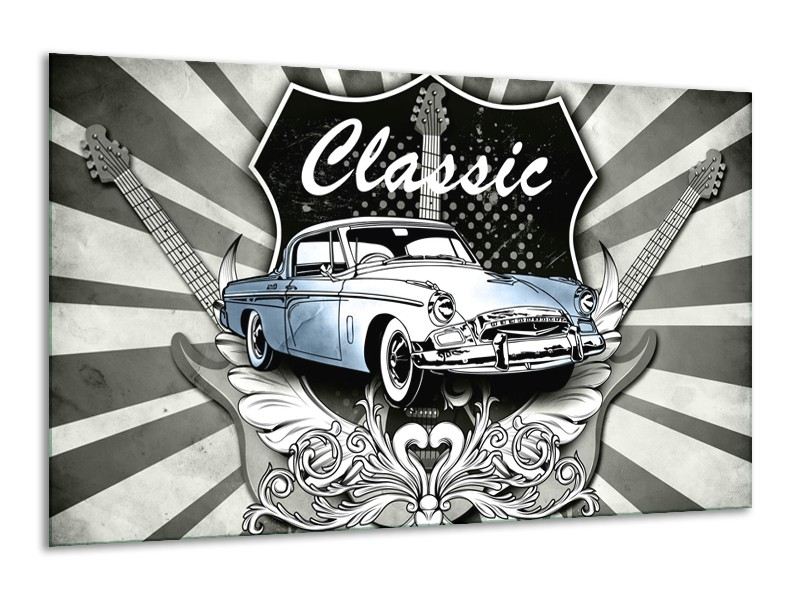 Glasschilderij Oldtimer, Auto | Grijs, Blauw | 120x70cm 1Luik