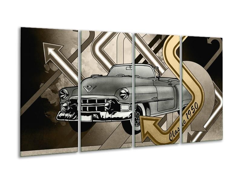 Canvas Schilderij Oldtimer, Auto | Grijs, Goud | 160x80cm 4Luik