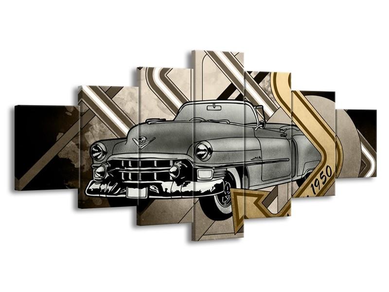 Canvas Schilderij Oldtimer, Auto | Grijs, Goud | 210x100cm 7Luik