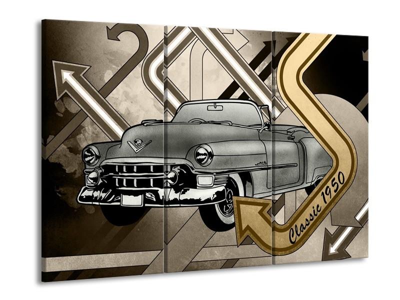 Glasschilderij Oldtimer, Auto | Grijs, Goud | 60x90cm 3Luik